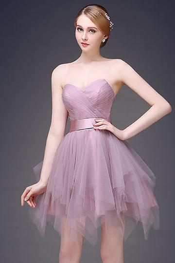 Mini robe parme bustier cœur pour bal / cocktail effet fantasie