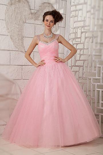 Robe de mari e rose p le avec bretelles orn es de sequins for La couleur rose pale