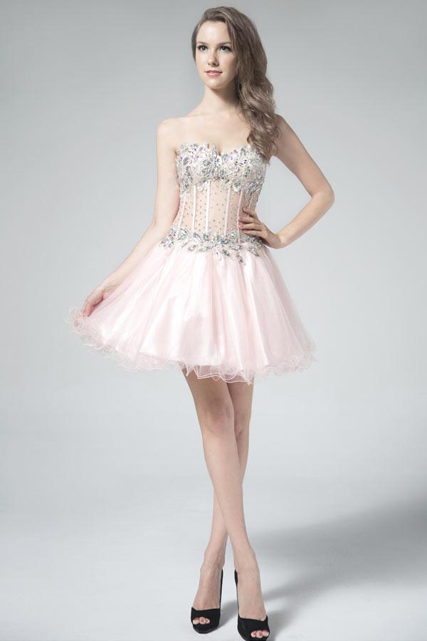 petite-robe-rose-sexy-pour-bal-bustier-coeur-floral-paillete