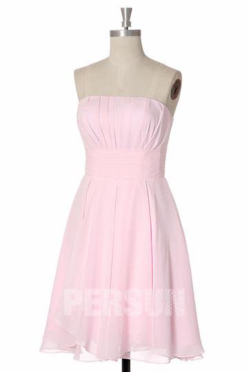 Petite robe rose bustier droit mousseline