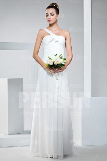 Robe témoin mariage blanche longue au sol à une bretelle Empire
