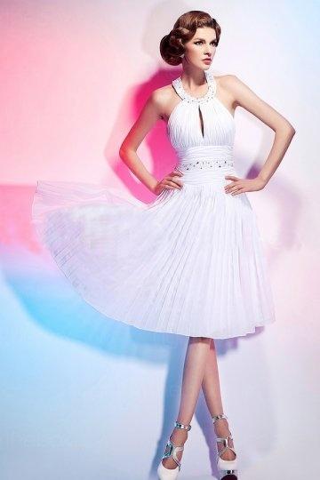Marilyn Monroe robe de cocktail blanche col américain en mousseline