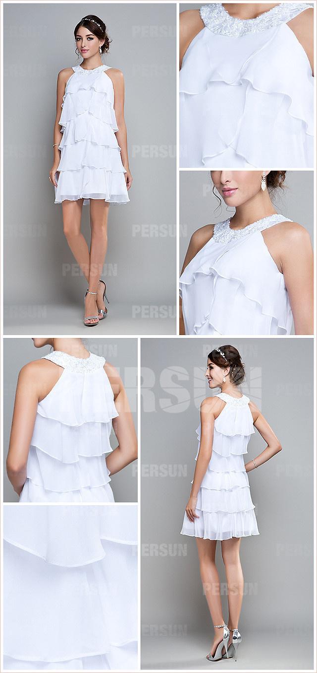 robe blanche courte à volant
