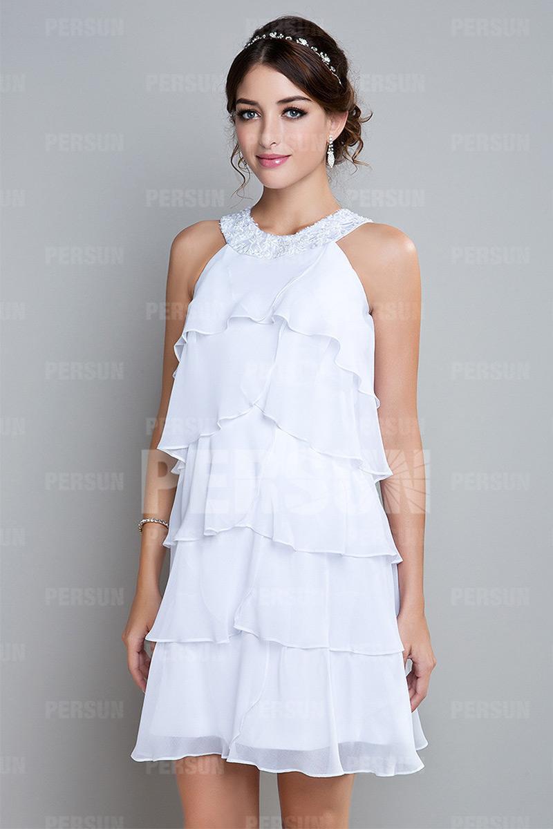 robe de cocktail volants en mousseline - Robe De Tmoin De Mariage Pas Cher