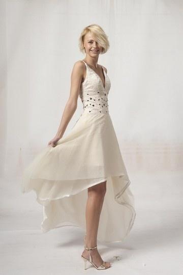 Sexy robe de soirée de luxe en organza champagne à col V