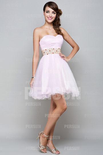 Sweetheart Pink Cute Short Homecoming Tutu Dress