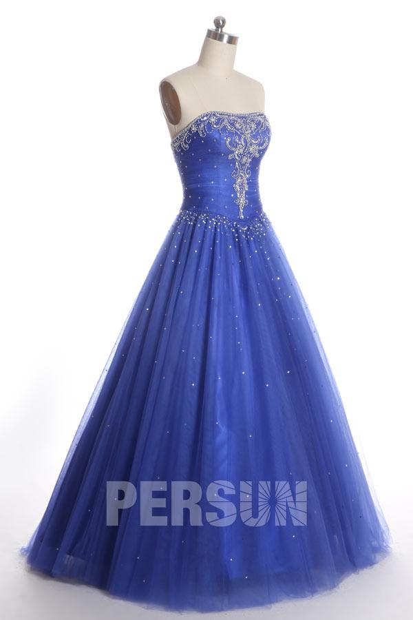 Robe de soirée princesse classique et rétro en tulle bleu roi