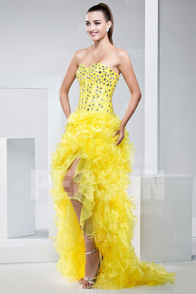Sweetheart Yellow Corset Prom Dress with Ruffle skirt