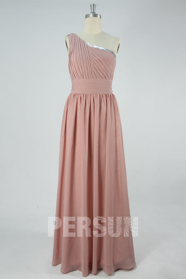robe longue vieux rose asym trique pour soir e de mariage. Black Bedroom Furniture Sets. Home Design Ideas