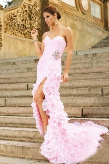 Robe fendue à coupe sirène ornée de fleurs à la jupe