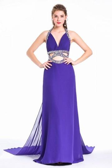 Sexy robe de soirée violette halter orné de strass dos nu