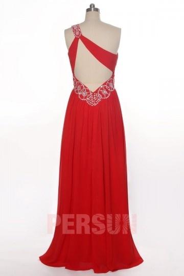 robe de soir e rouge asym trique dos d coup en mousseline. Black Bedroom Furniture Sets. Home Design Ideas