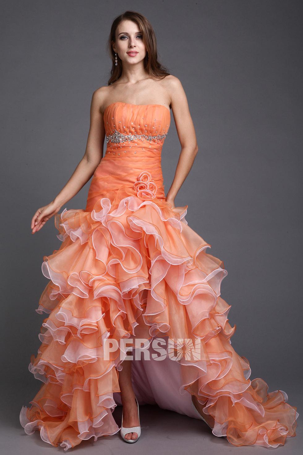 robe orange de bal courte devant longue derri re bustier en organza volant. Black Bedroom Furniture Sets. Home Design Ideas