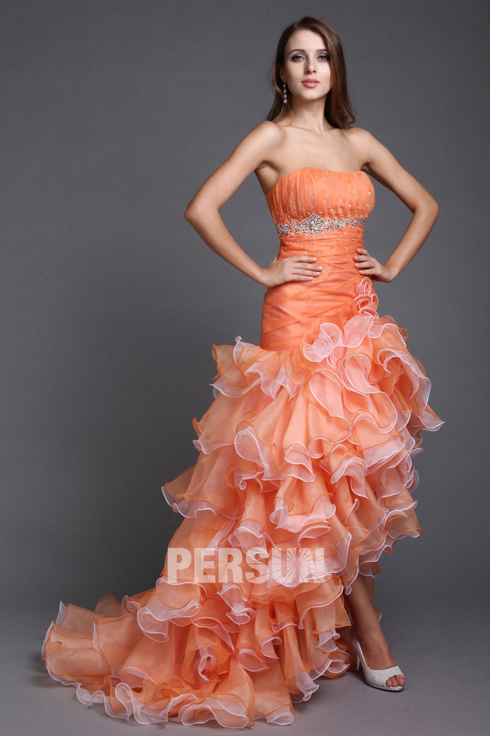 Robe cocktail orange pas cher