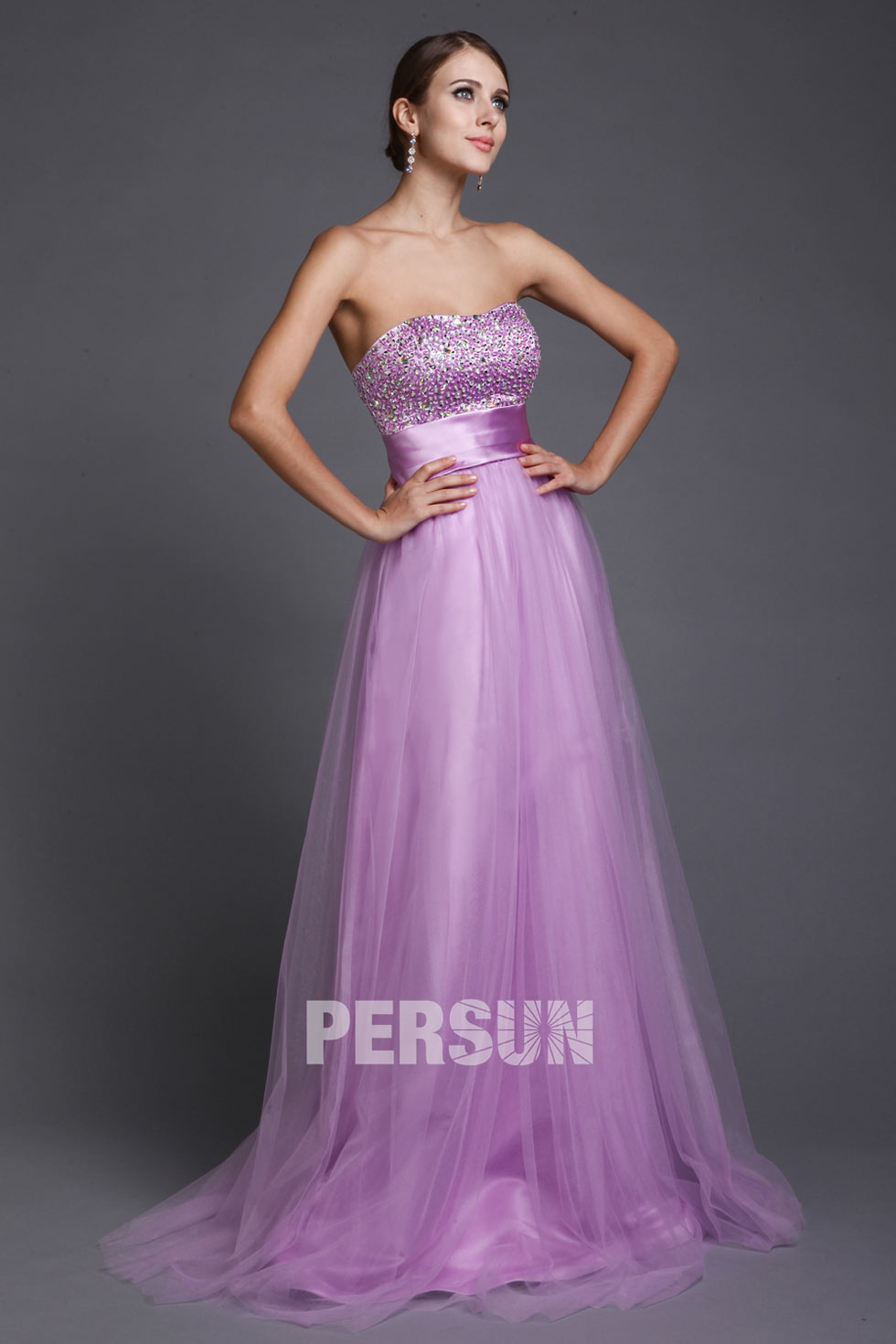 robe bustier longue en couleur lilac pour bal et soirée