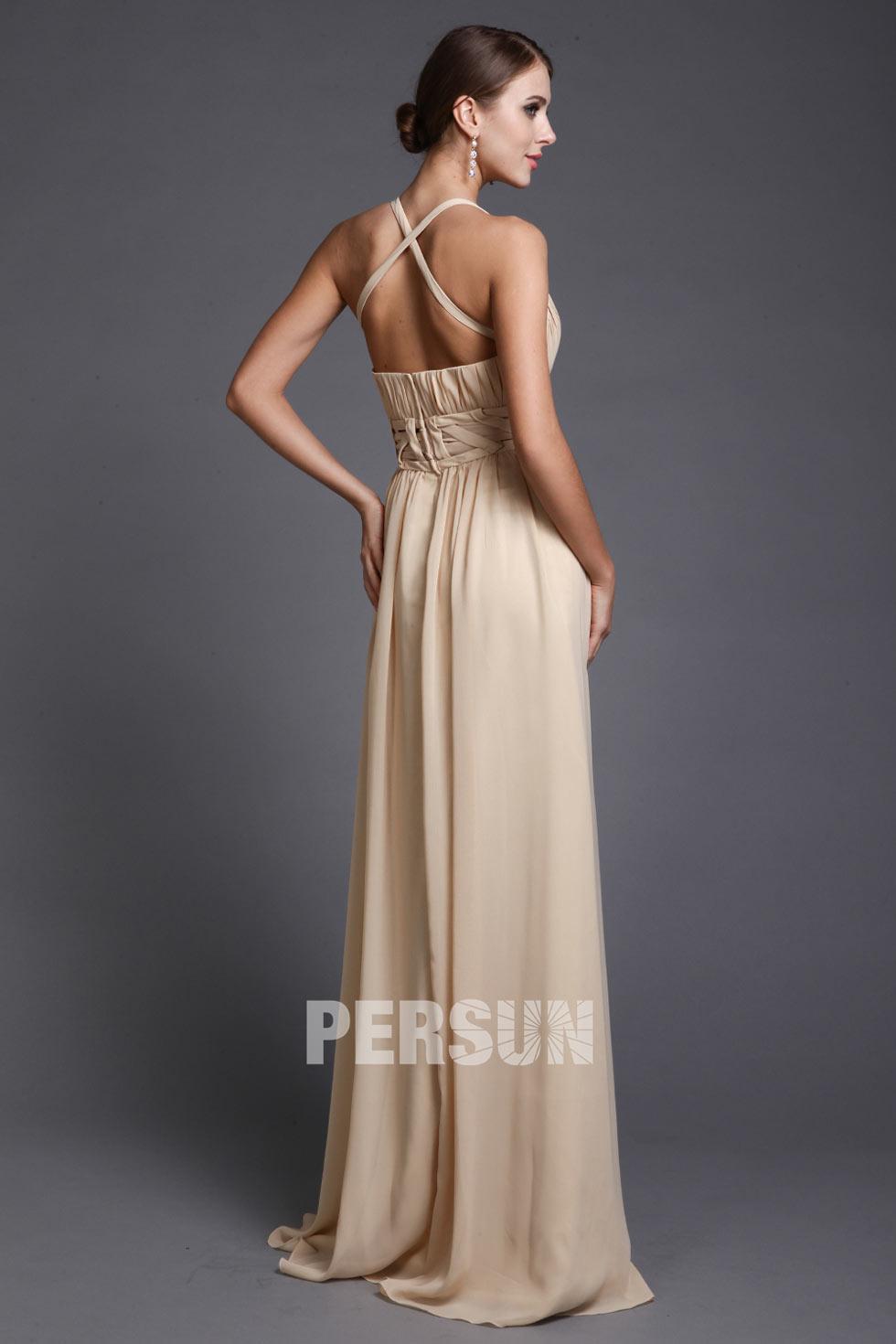 robe de soirée sexy bretelles croisées au dos