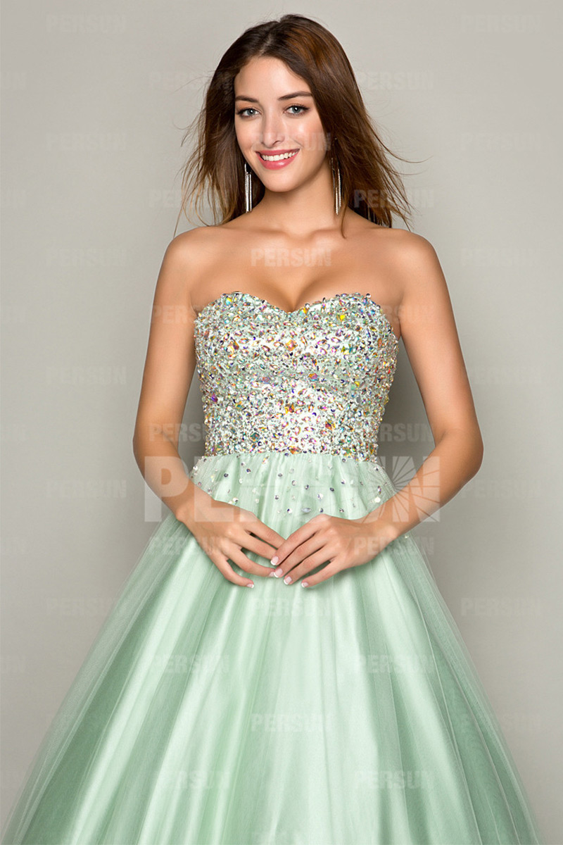 Green Prom Dress with beaded sweetheart bodice