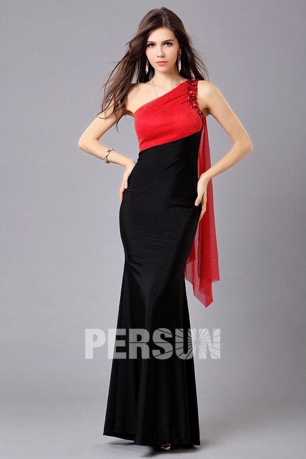robe de bal longue sir ne contraste rouge noire orn e de bijoux. Black Bedroom Furniture Sets. Home Design Ideas