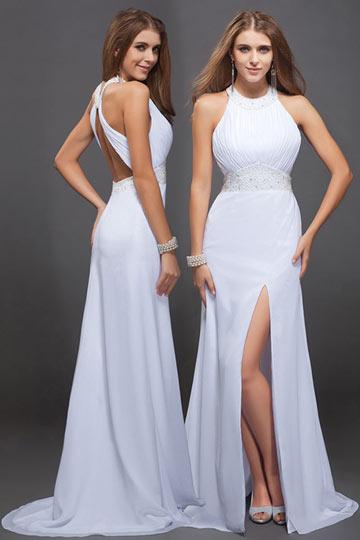 Robe de soirée blanche fendue