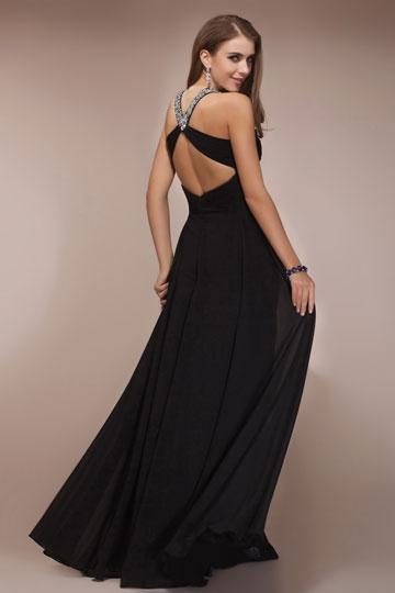 Robe de soirée noire ornée de bijoux empire ligne-A