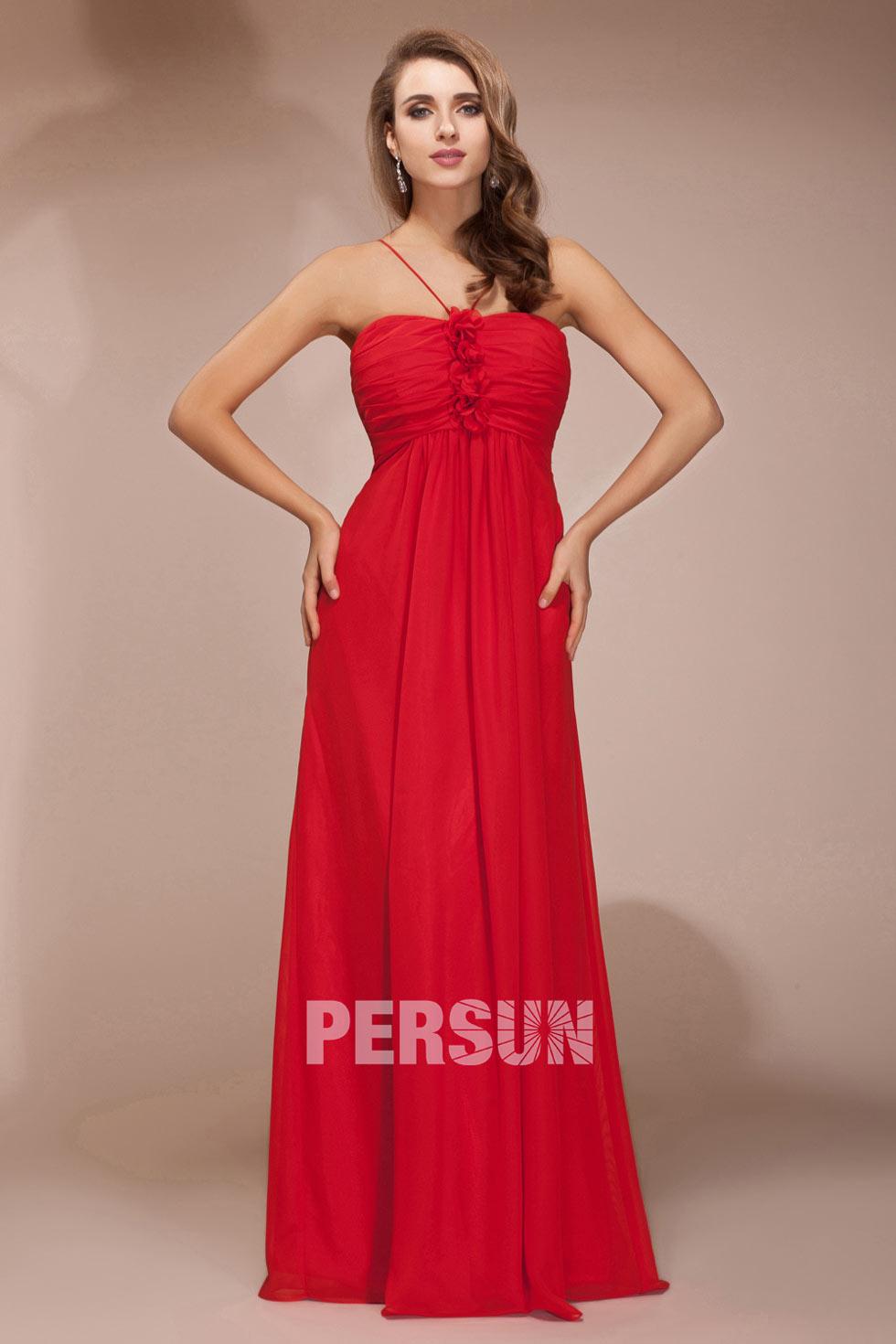 robe rouge longue pour demoiselle d'honneur