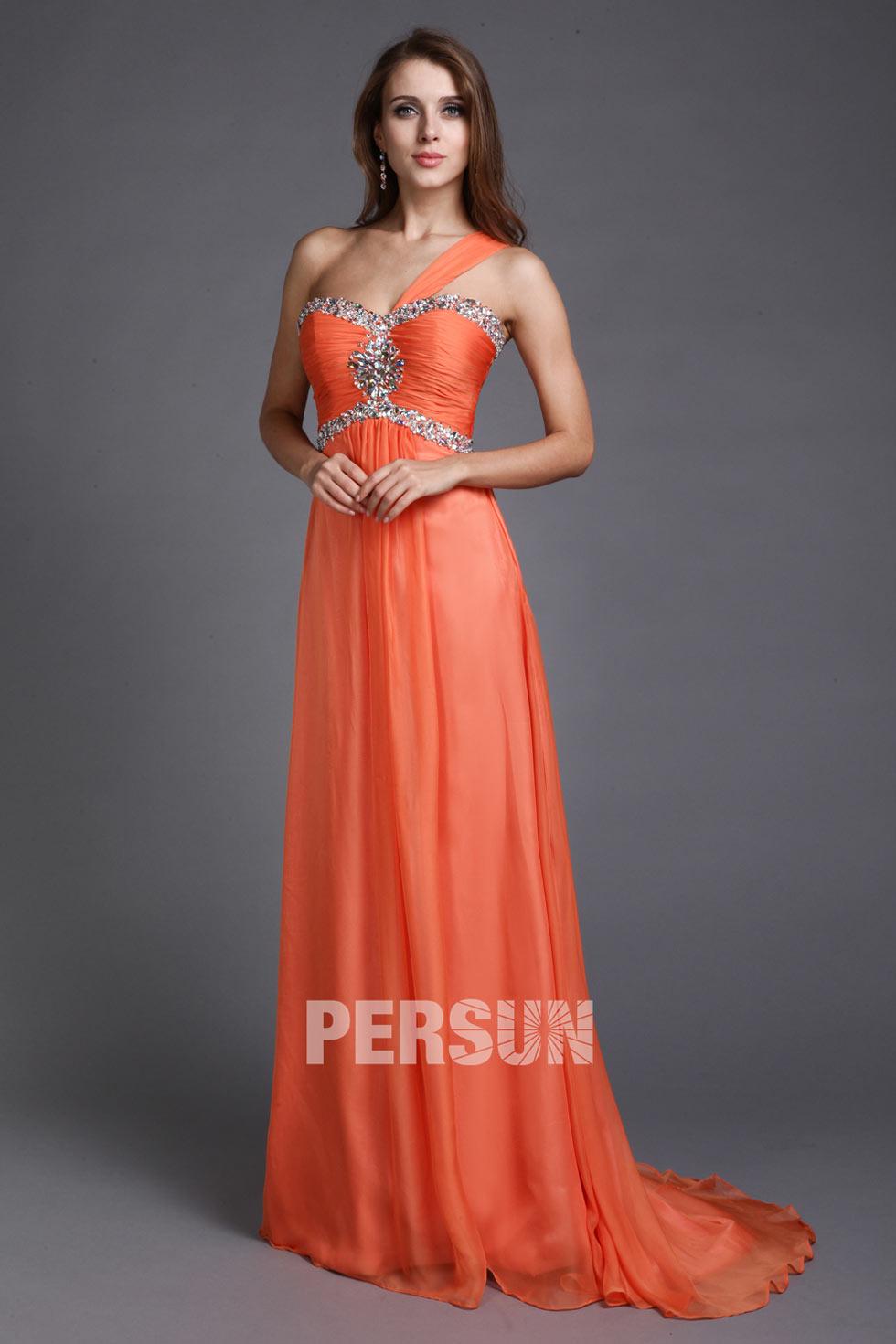 Robe de soirée orange ornée de strass à seule épaule