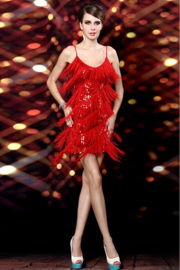Robe charleston franges paillet e sequin rouge - Robe de soiree charleston ...
