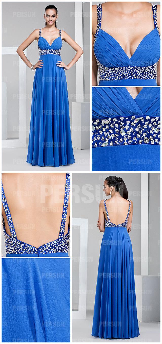 Robe de soirée bleu à dos nu