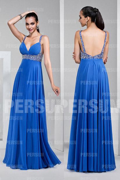 robe de soirée longue bleu sexy col V avec bretelles fines