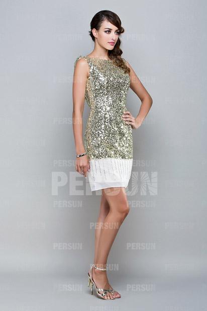 Mini robe de soirée courte ornée de paillettes or à dos ouvert