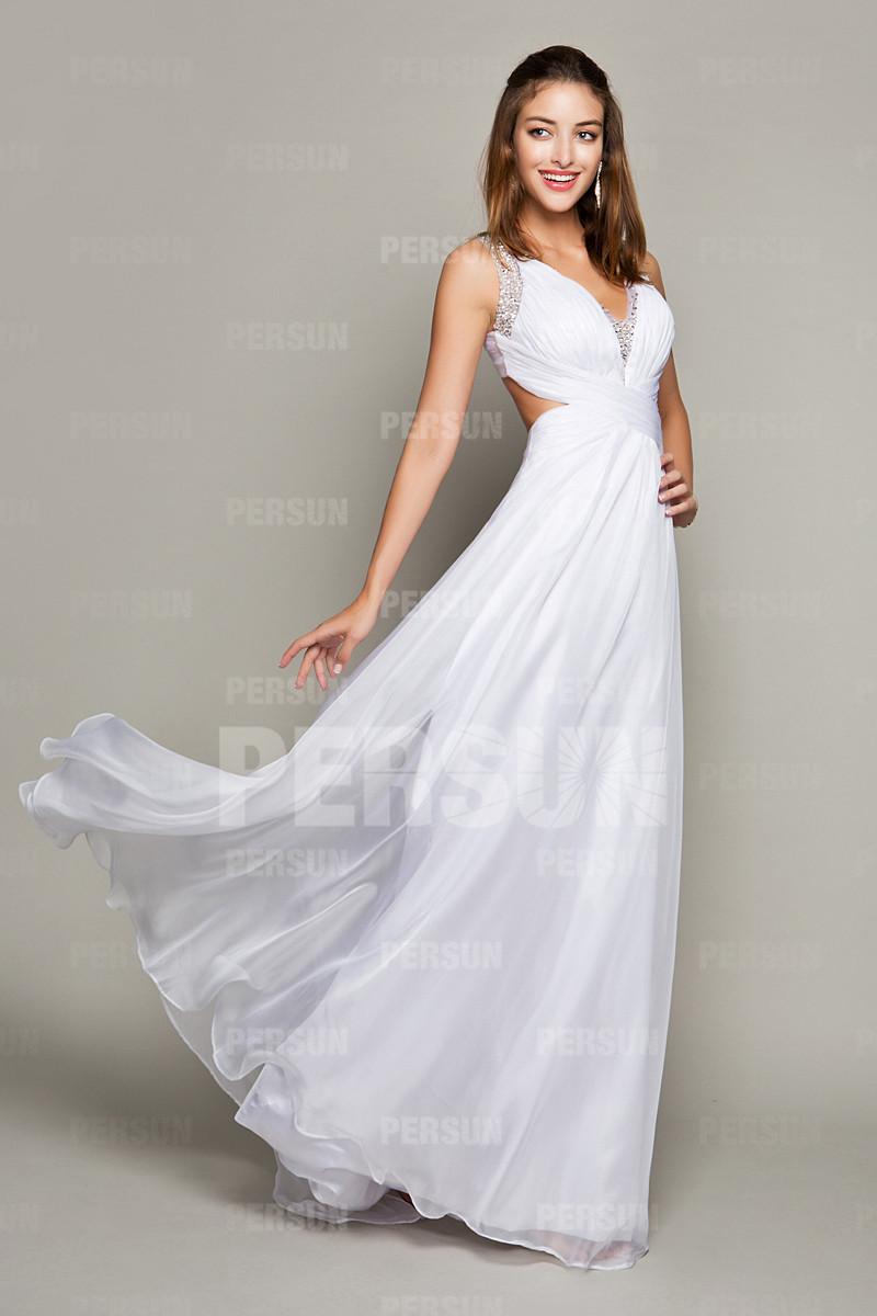 Robe de soiree blanche et doree