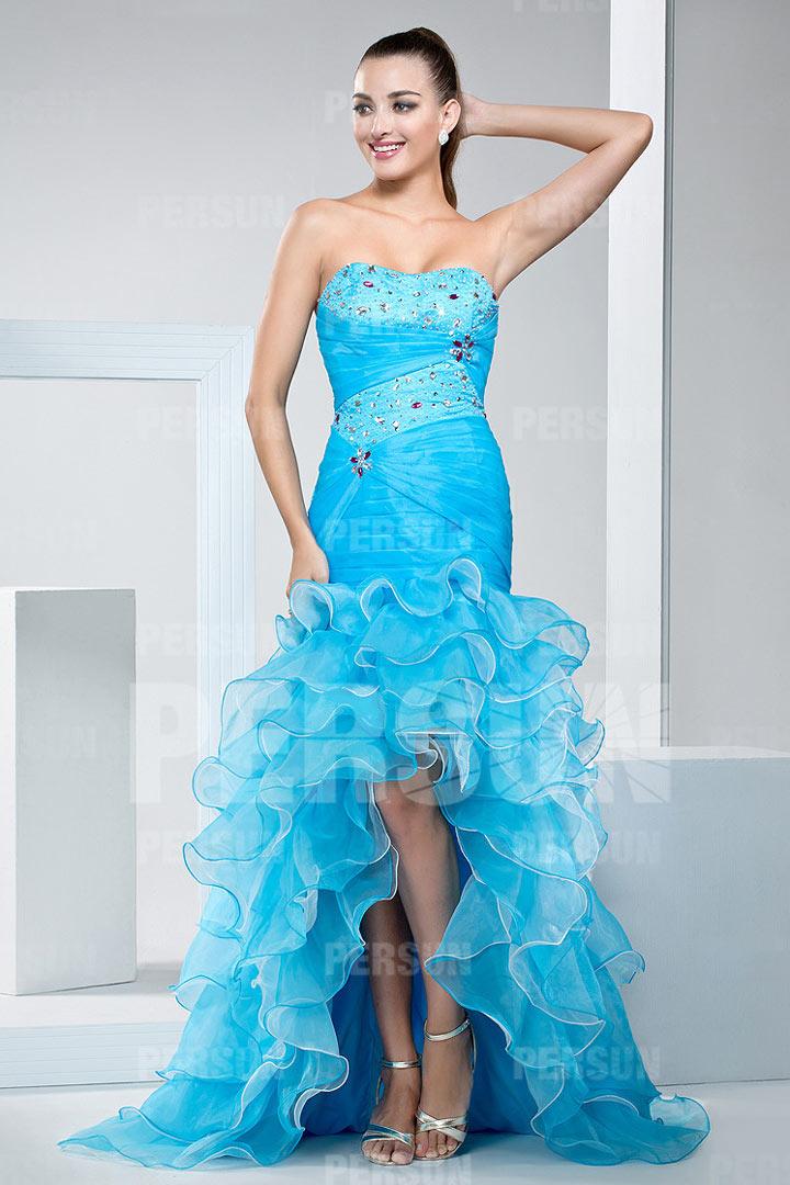 robe bustier bleue courte devant longue derri re volants. Black Bedroom Furniture Sets. Home Design Ideas