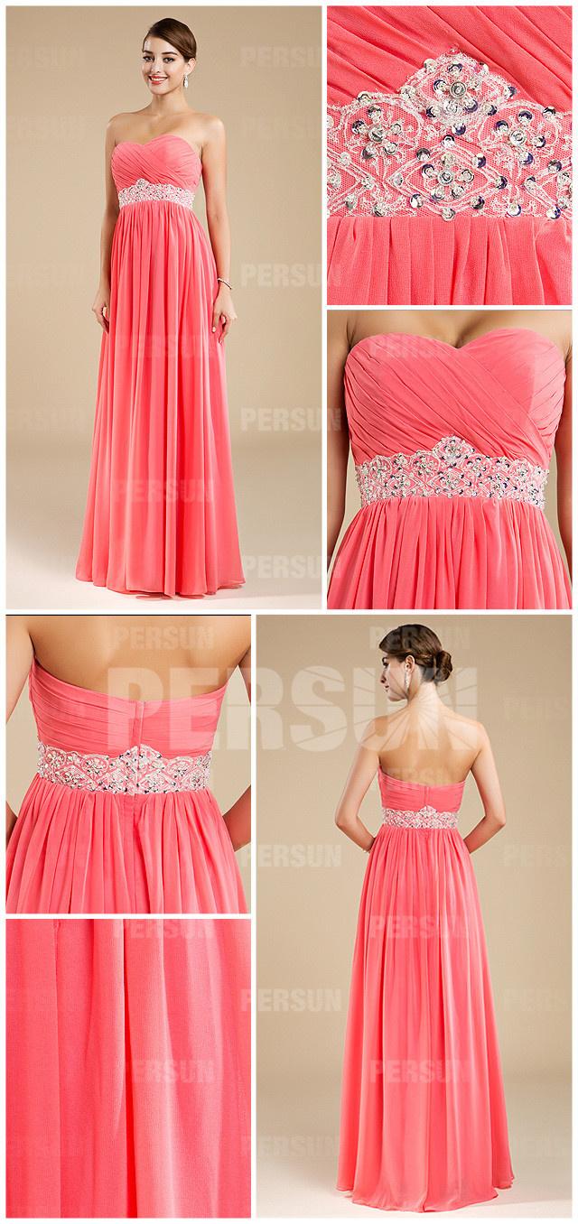robe bustier longue rose corail pour mariage décolletée coeur