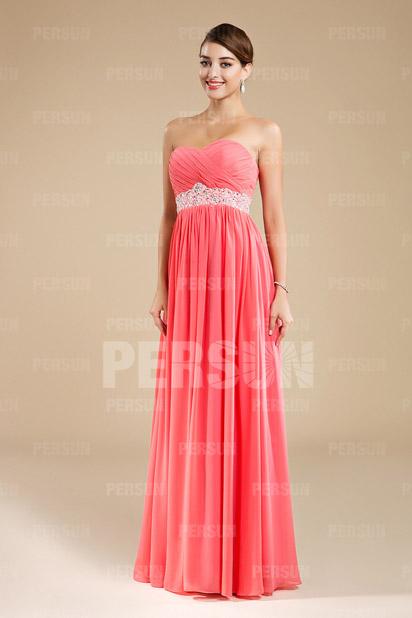 Longue robe demoiselle d'honneur à bustier coeur