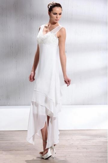 Robe de mariage plage colonne encolure V jupe asymétrique
