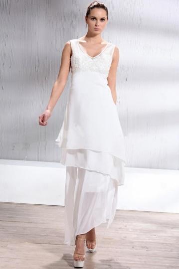 Robe de mariée plage Fourreau / Colonne encolure en V asymétrique