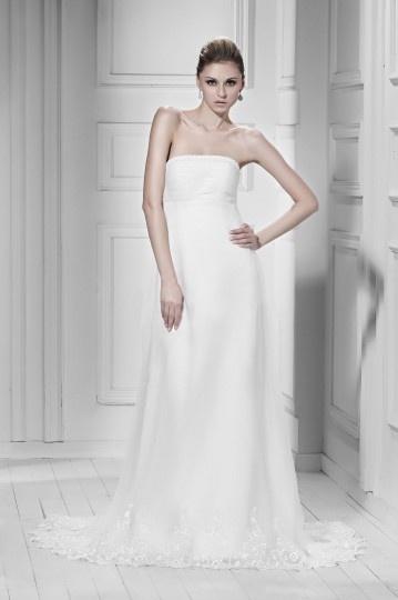 Robe de mariée simple garnie de dentelle Empire sans bretelle à traîne Court