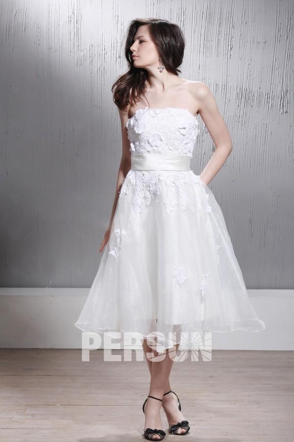 robe de mari e plage sans bretelle ligne a longue aux genoux avec appliques. Black Bedroom Furniture Sets. Home Design Ideas