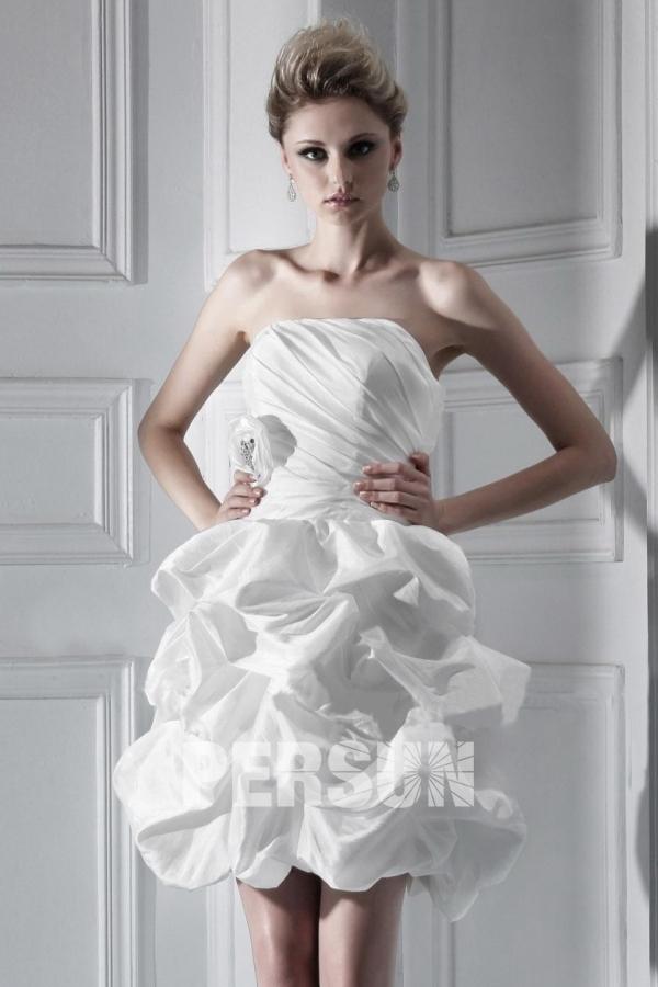 robe de mari e plage courte mini sans bretelle On robes de mariée brillantes sans bretelles