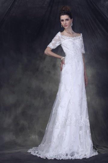 Robe de mariée vintage à encolure bateau et manche courte du style luxe