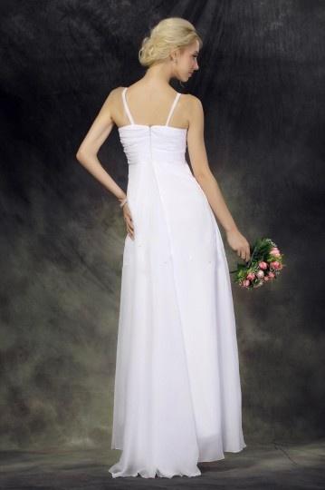 Robe de mariée simple et chic Empire à col américain au ras de la cheville
