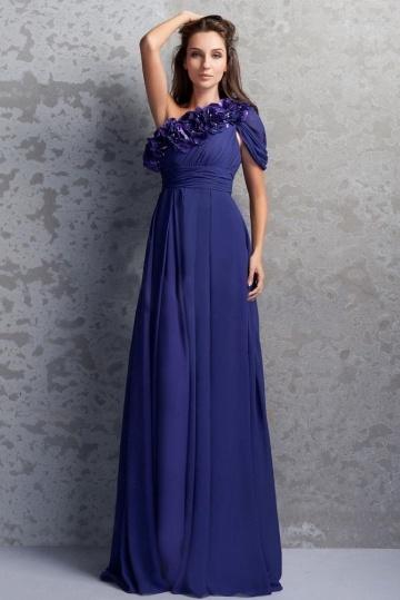 robe-de-soiree-bleu-asymetrique-fleurs-a-mancheron