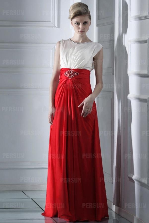 robe de soir e chic bicolor rouge et blanche. Black Bedroom Furniture Sets. Home Design Ideas