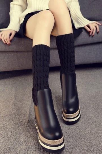 bottines chaussettes avec plate forme. Black Bedroom Furniture Sets. Home Design Ideas