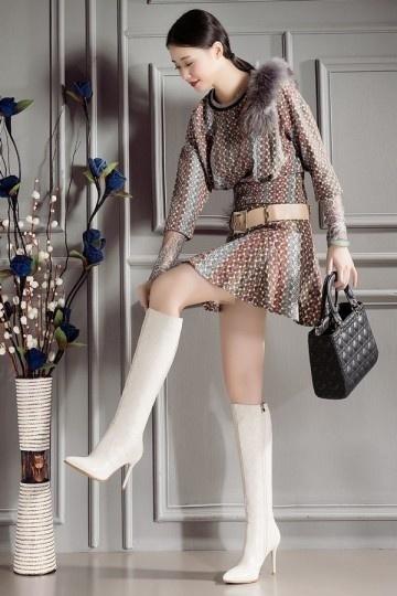 Bottes femme pointues motif en losange classique