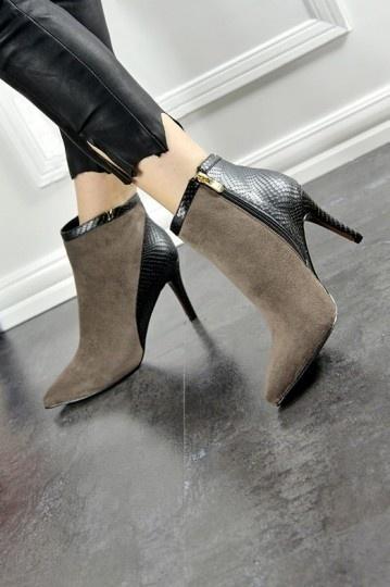 Low boots bi matière en suède cuir effet serpent