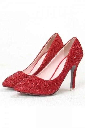 Chaussures de mariage orné de bijoux à bout pointu