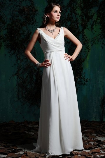 Simple robe mariée col en V à taille Empire