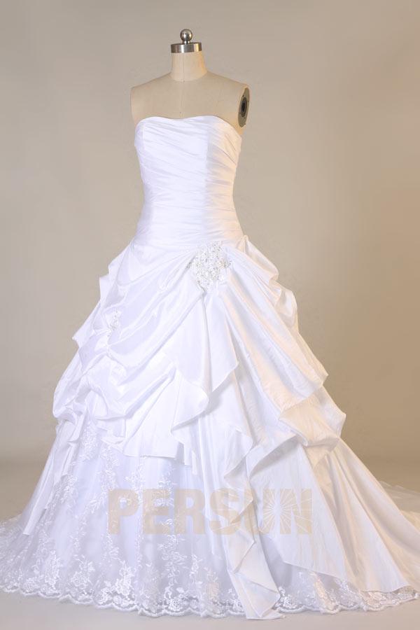 A Linie Herz Ausschnitt Taft Brautkleid