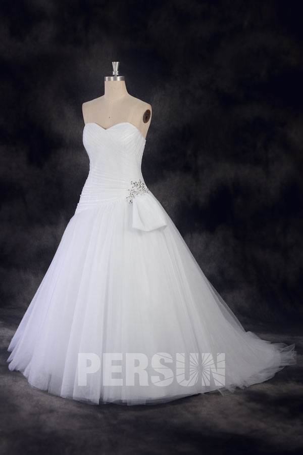A-line Wedding Dress with sweetheart neckline and a princess ball gown